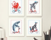 Four prints: octopus, shark, humpback whale and sea lions, 5 x 7, 8 x 10