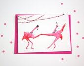 Pink flamingo Greeting card, swing dancing for birthday or wedding