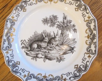 "MOTTAHEDEH ""DU PAQUIER"" Dinner Plate with  Rabbit Motif"