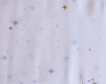 Half Yard - 1/2 Yard - Twinkle Twinkle in White Metallic - THE WHISPER PALETTE by Lizzy House for Andover