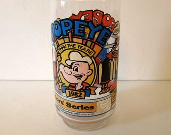 Popeye drinking glass, Popeye comics glass, Popeye and Olive Oil drinking glass, cartoon characters drinking glass