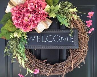 Wreath -Gift -Shabby Chic Country Wreath - Welcome Wreath - Pink Hydrangea Wreath - Spring Wreath - Summer Wreath - Gift Ideas