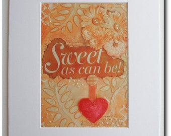 Mixed Media Matted Print - Sweet as Can Be