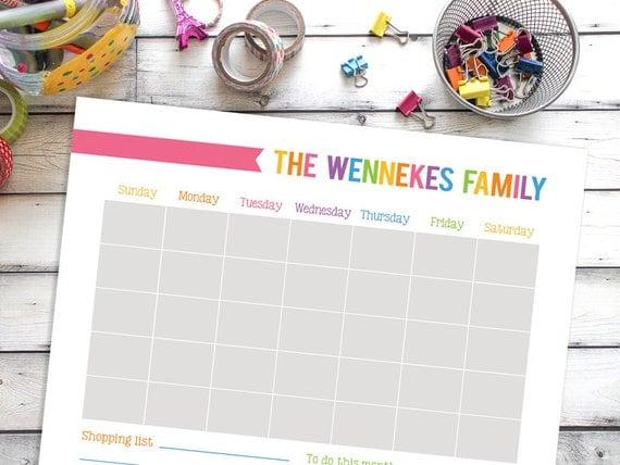 Printable Calendar Personalized Wall Calendar Family
