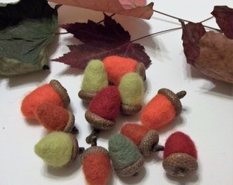 10 Needle Felted Acorns With Real Caps For Autumn Home Decor