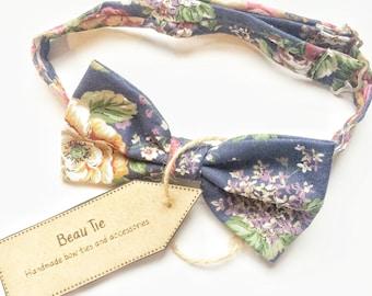 floral bow tie, navy blue bow tie, mens bow tie, vintage bow tie, wedding bow tie
