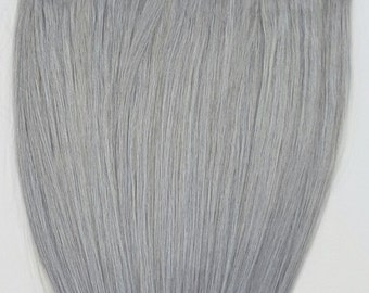 18 inches 7pcs Clip In Human Hair Extensions Sterling Silver (Beautiful Silver Gray)