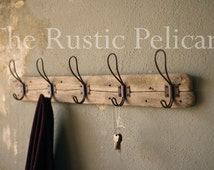 Rustic Coat Rack, Farmhouse Style Decor, Key holder, Entryway Decor, Reclaimed Wood Coat Rack, Bathroom Towel Rack, Vintage style Hooks
