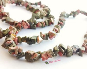 Necklace Unakite Chips 80 cm around the neck