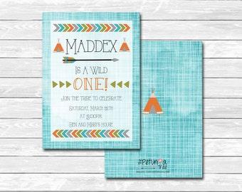 "Printable tribal ""Wild one"" birthday party invitation, front, back, custom, card, The Petunia Tree"