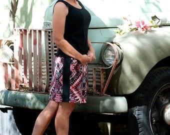 Pencil Skirt in Neoprene/Scuba fabric,  Business or casual, Short Skirt, Tribal Print