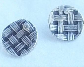Silver Round Basket Weave Stud Post Earrings