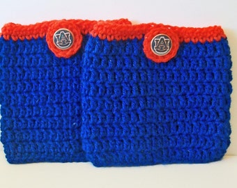 Trendy Orange and Blue Tigers Auburn Inspired Hand Crocheted Boot Cuffs Cute Accessory 5 Sizes Available