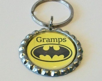 Fun Yellow and Black Bat Inspired Superhero Gramps Grandfather Metal Flattened Bottlecap Keychain Great Gift