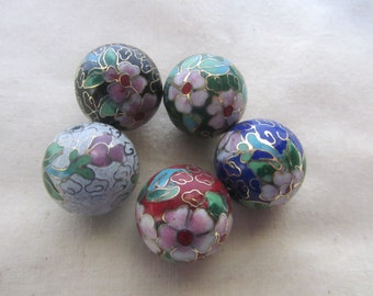 Vintage Cloisonne Beads 24mm