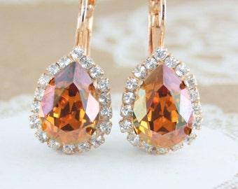 Bridal earrings,bridesmaid earrings,rustic wedding,autumn wedding,fall wedding,copper earrings,teardrop earrings,Swarovski crystal copper