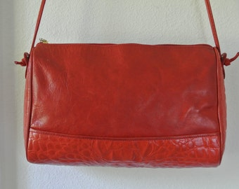 1980s Handbag Portofino Red Genuine Leather Shoulder Bag Cross Body