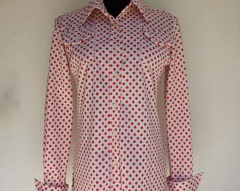 70's Polka Dot Shirt - Women's Medium Large - Pop Art LEVOY'S Polyester 1970's White Red M L Button Up Down