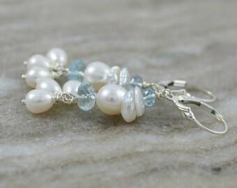 Pearl drop earrings, Swiss Blue topaz earrings, Keishi pearl earrings, pearl jewelry gift, bridal earrings, silver lever back ear wires