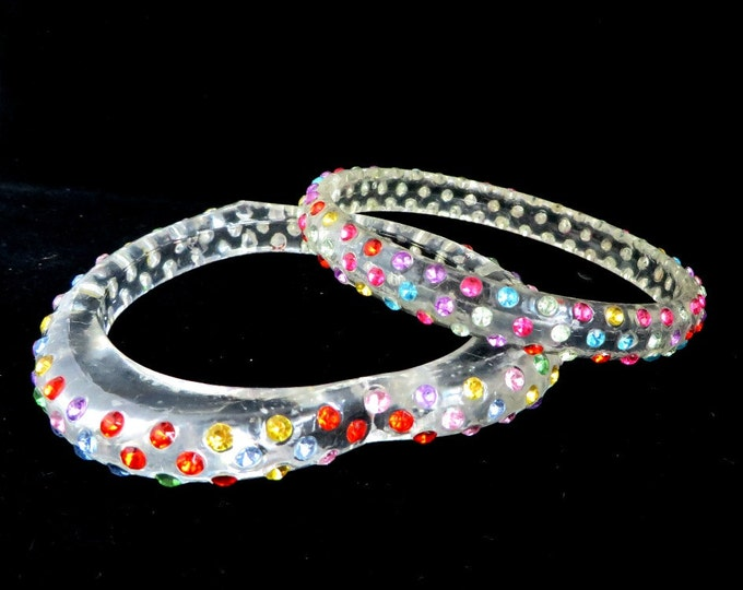 Vintage Bangles - Rhinestone Bangle Pair, Confetti Bracelets, Heart and Round Bangles, Gift for Her