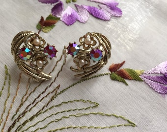 Vintage Coro Irridescent Pink Rhinestone Clip-On Earrings
