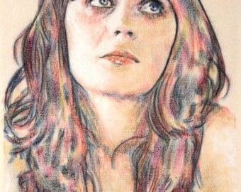 One-off, hand drawn portrait of Zooey Deschanel, in charcoal and pastel on calico