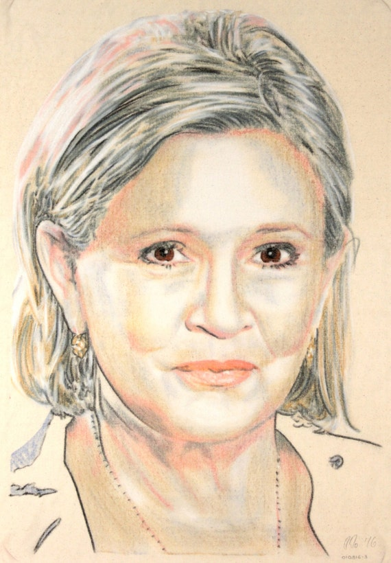 Original, one-off portrait of Carrie Fisher, in charcoal and pastel on calico