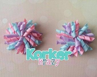 Pink/Light Blue/Lavender Mini Korker Bows