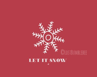 CHRISTMAS CARDS Digital // Let it SNOW //  5x7 // Set of 4 Colours Colors // Instant Download