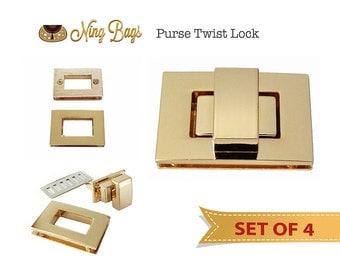 SALE! Set of 4 // Premium Purse Turn Lock in Soft Gold, Twist Lock, Premium Gold Turn Lock, Purse Twist Lock - Gold Finish