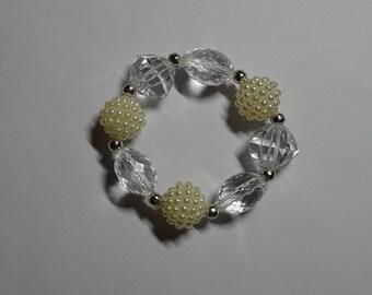 White Crystal Look Bead Bracelet