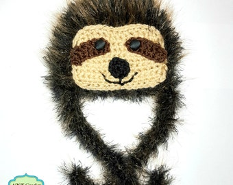 Pattern- Crochet Newborn Sloth Hat, Fuzzy Lion Brand Pelt Yarn Animal Hat Pattern, Newborn Photo Prop Hat Pattern 035