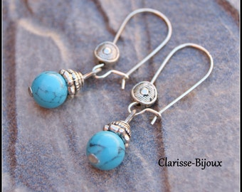 Turquoise Howlite Earrings 15x38mm