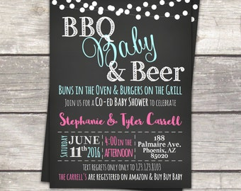 Baby shower invitation, co ed BBQ baby shower, chalkboard, custom colors, printable invitations