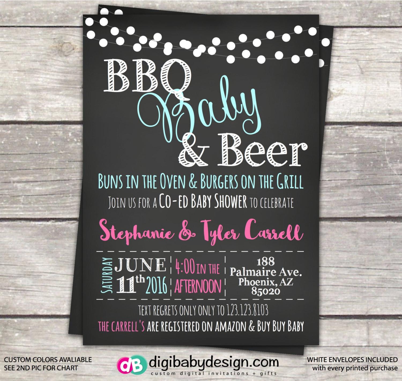 Baby Shower Invitation Co Ed BBQ Baby Shower Chalkboard