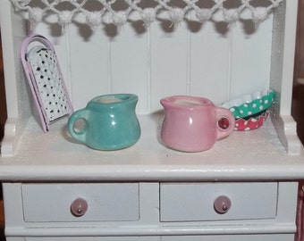 Dollhouse Miniature Small Ceramic Pitcher - Your Choice - Teal/Aqua or Pink