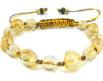 BB0965N Citrine Natural Crystal Gemstone Knot Bracelet