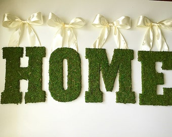 Moss letters, welcome home sign, welcome sign, moss wreath, door wreath, front door wreath, fall wreath, spring wreath, wreath, moss decor
