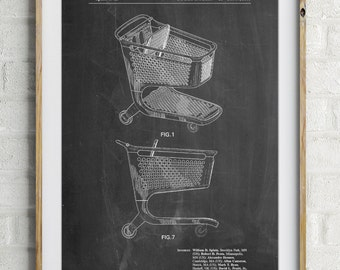 Shopping Cart Patent Poster, Shopaholic, Target Lady, Play Room Art, PP0693