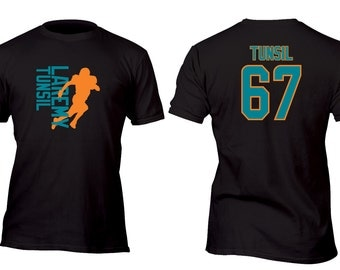 Limited Edition Black Dolphins Tunsil Football Shirt All sizes up to Plus 5x