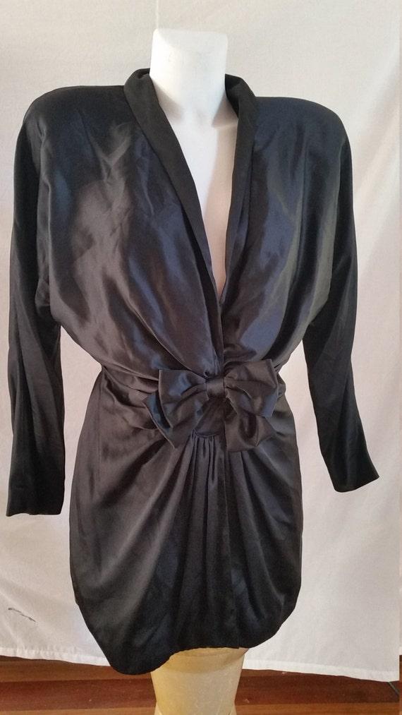 vintage nineties designer george gross soft black silk jacket