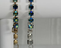 Vintage Rhinestone Bracelets, 50's NEW Bracelet, Retro Blue Bracelet, Bridesmaid Bracelets, Blue AB Bracelet, Vintage Gold, Silver Bracelet