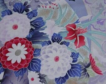 Pink Chrysanthemum/Bird and fan/ Turu birds/ Furisode kimono fabric /Vintage