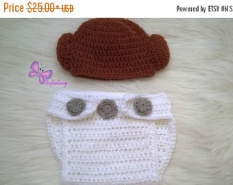 CIJ Sale Crochet Princess Leia Hat and Diaper cover set From Star Wars For Girl Halloween Baby Star Wars Princess Leia crochet hat and diape