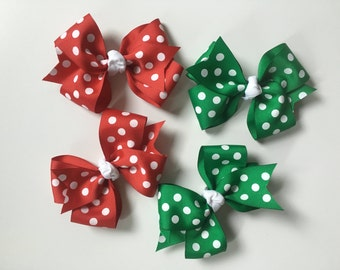 Red Polka Dot Boutique Hair Bow, Green Polka Dot Boutique Hair Bow, Christmas Boutique Hair Bow
