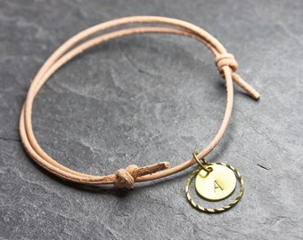 Nude circle II initials engraved bracelet - leather