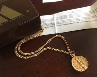 Goddess of Fortune and Fate, Personification of Luck Pendant Necklace - Vintage Alva Museum Replica Gold Roman Coin-  Fortuna - Orig Box