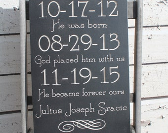 Personalized Adoption sign, Baby Sign Carved, adoption Sign Adoption Gift