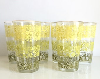 Vintage Yellow and Green Drinking Glasses