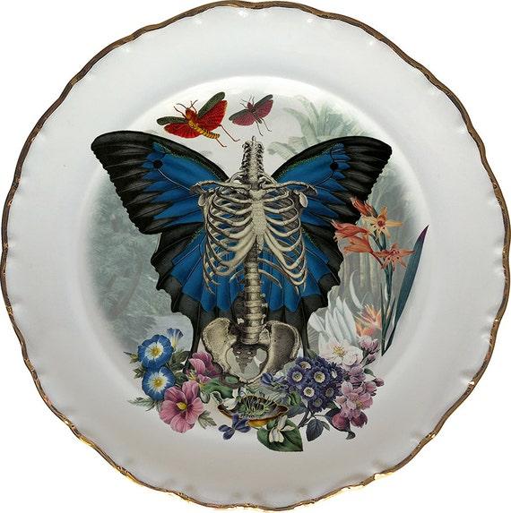 Skeleton n Wings - Skull - Vintage Porcelain Plate - #0438